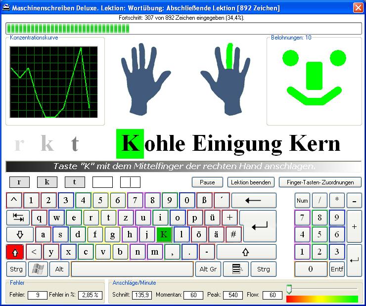 Screenshot vom Programm: Maschinenschreiben Deluxe